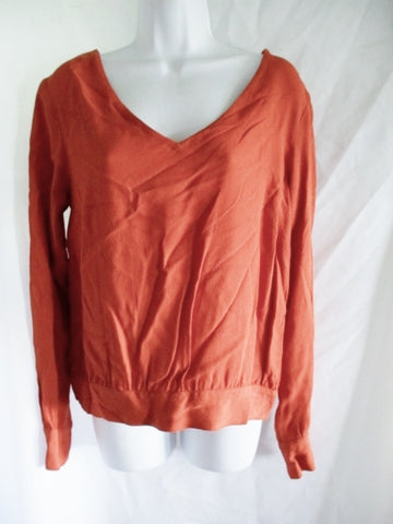 DRIES VAN NOTEN V-neck Ramie Blouse Top Shirt 38 6 ORANGE PUMPKIN