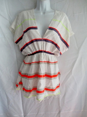 Womens LEMLEM DRESS Cover Up Fringe Hippy S WHITE NEON Stripe Boho Beach
