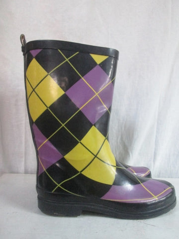 Womens Ladies ARGYLE Wellies Rain Boots Gumboots Foul Weather 9.5 YELLOW PURPLE BLACK