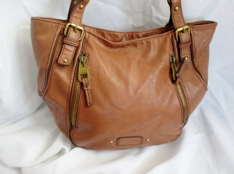 NINE WEST faux leather tote hobo satchel shoulder bag pockets BROWN L boho