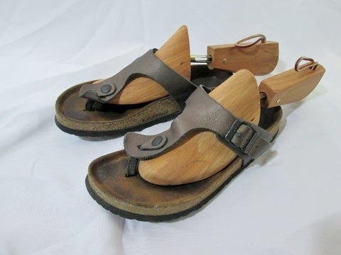 Womens NAOT ISRAEL SANDALS SHOES LEATHER Thong Flip Flop BROWN 7 Stud