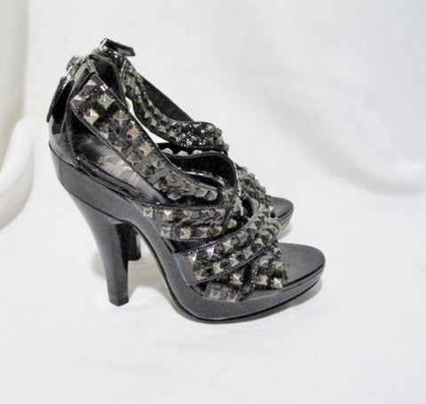 BURBERRY Leather Patent Leather Sandal SPIKE Shoe 36 6 BLACK Strappy