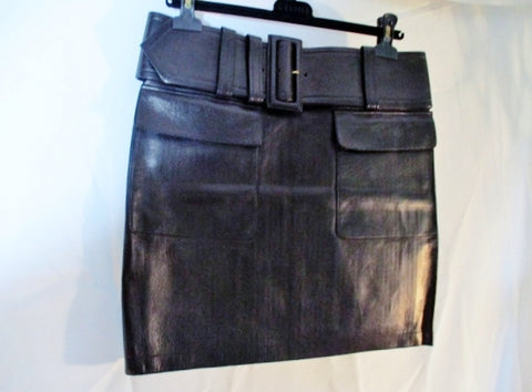 NWT New CELINE LAMBSKIN LEATHER SKIRT POCKETS BELT 38 BLACK Womens