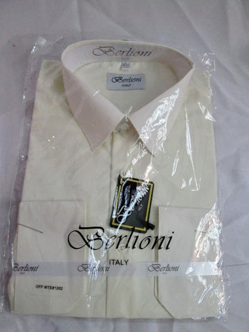 NEW Mens BERLIONI ITALY Dress Shirt L 16-16.5 32/33 CREME ECRU Formal Wedding