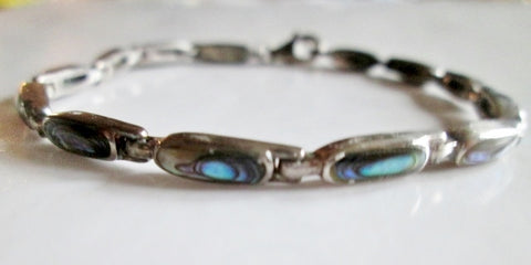 Signed 925 STERLING SILVER ABALONE SHELL MERMAID Bracelet 8.4g Bangle Jewelry Hipster Glam