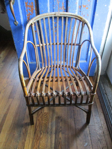 "Antique Vintage Antique 30"" WICKER CHAIR Woven Estate Armchair"