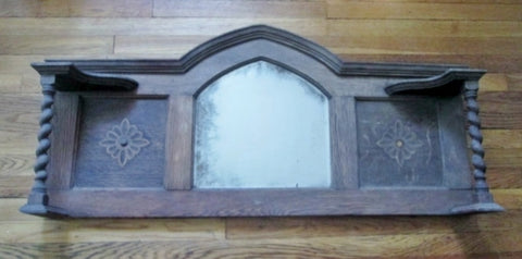 Vtg Handmade Carved Wood Primitive MIRROR Mantle Wall Hanging Rustic Medieval Tabletop