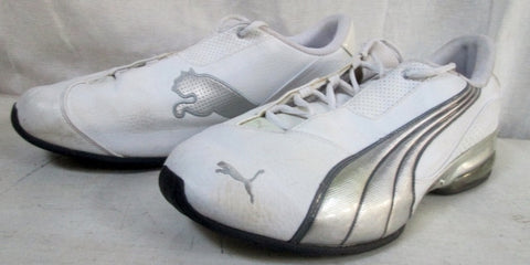 Mens PUMA SPORT LIFESTYLE RUNNING Sneakers Athletic 12 WHITE SILVER Shoes