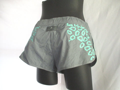NEW ADIDAS STELLA MCCARTNEY Run Perf Shorts 36 GREY BLUE LEOPARD