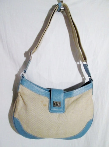 RAFE NEW YORK ITALY MONKEY Canvas Leather Hobo Purse Shoulder Bag TAN BLUE M