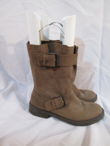 Womens ALDO Suede Ankle Moto BOOT Booties BROWN 10 Buckle Strappy