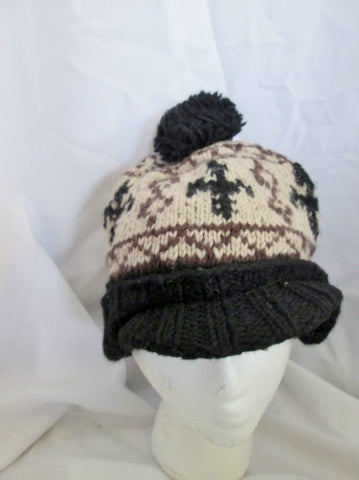 HANDMADE GRACE HATS Wool Knit HAT Cap Beanie Ethnic Boho BLACK WHITE Pompom