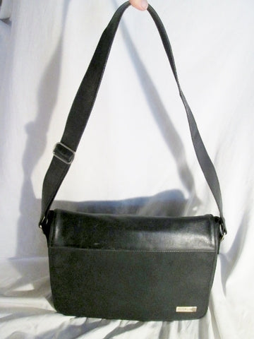 KENNETH COLE Shoulder Flap Bag Man Purse Messenger Crossbody Leather BLACK