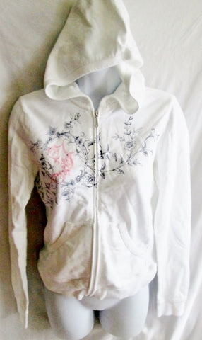NEW Womens JUICY COUTURE Rhinestone Hoodie SWEATSHIRT Jacket M WHITE