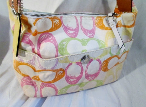 COACH F11672 HAMPTON Pastel Scribble Graffiti Print Hobo Shoulder Bag Purse Satchel MULTI WHITE