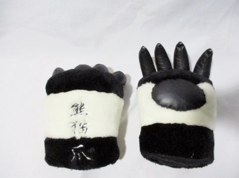 PLUSH COSPLAY BLACK WHITE PANDA BEAR CLAW Prop Stripe Glove Anime Party