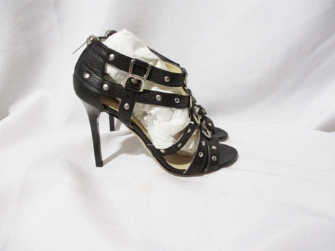 JIMMY CHOO CAGE Gladiator Strappy Stud Heel Sandal Shoe 36.5 6 BLACK Leather