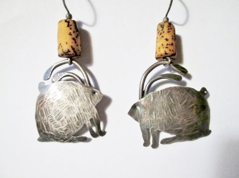 Handmade RABBIT SILVER Dangle Pierced Earring Jewelry Arts Crafts Boho Animal Bead