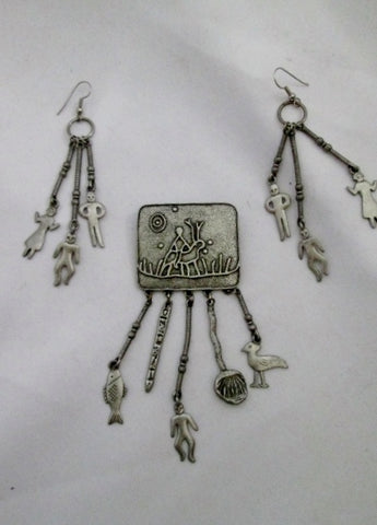 Vintage Set 1988 JJ PEWTER Southwestern Brooch Pierce Earrings Charm Animal FETISH