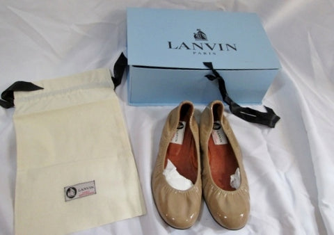 NEW Womens LANVIN PARIS Patent Leather Ballet Flat Shoe 37 / 6.5 BEIGE Slip-on