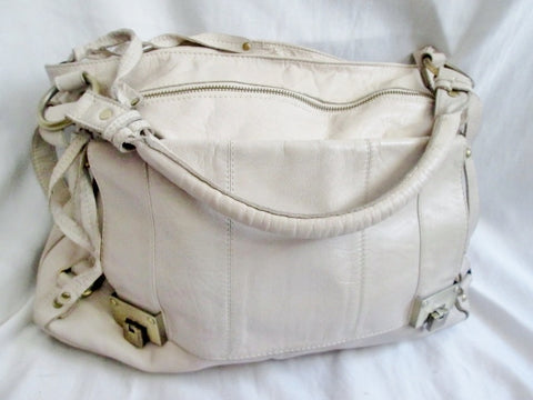 TOPSHOP GENUINE LEATHER satchel shoulder saddle bag tote WHITE CREME Briefcase