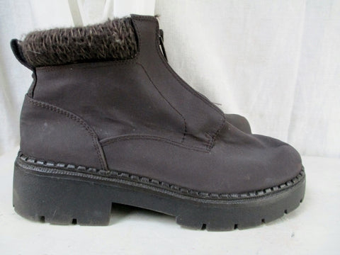 Womens SNOWBOUND Winter Faux Fur Lined Snow Rain Boot Shoe BROWN 8 Knit