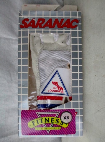 NEW Mens SARANAC Leather Workout Cycling Aerobics Fitness Gloves WHITE XS