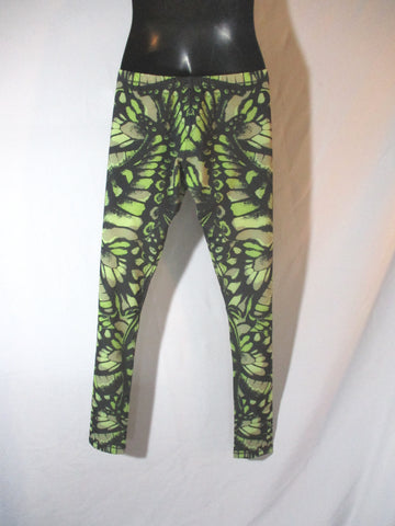 NEW NWT ALEXANDER McQUEEN BUTTERFLY LEGGING L BLACK GREEN Pant