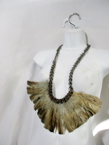 NEW LANVIN COLLIER PLUMES FEATHER NECKLACE NWT TAUPE BROWN