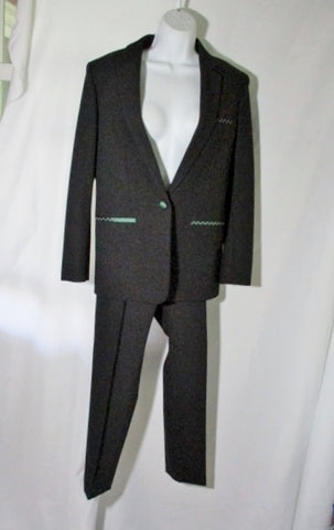 NEW NWT CELINE Set TWISTED WOOL Pant Suit 38 / 6 BLACK GREEN FORMAL Stitch