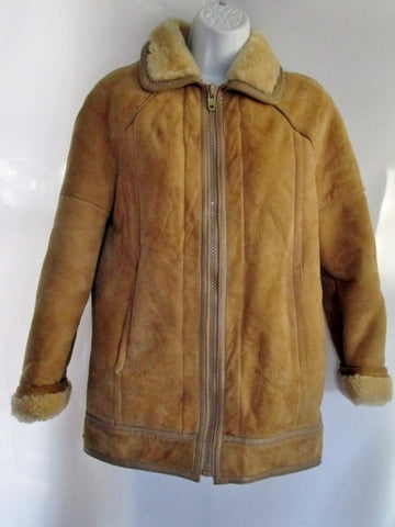Womens GENUINE SHEARLING SHEEPSKIN Suede Leather Fur jacket coat BROWN XS parka