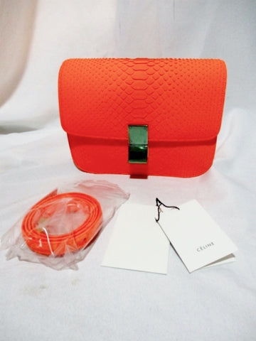 NEW CELINE MEDIUM FLAP BAG Leather ORANGE FLUO PYTHON Purse NWT