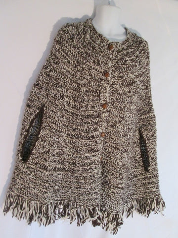"Adult Chunky Knit Blanket Poncho Ethnic Fringe 40"" Long BROWN WHITE OS One Size Tribal"