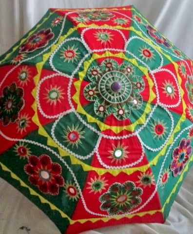 "37"" Ethnic India PARASOL SUNSHADE UMBRELLA Embroidered Colorful RED GREEN"