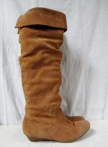 Womens NINE WEST Suede Leather Over Knee High Slouch Boot 7.5 BROWN CHESTNUT
