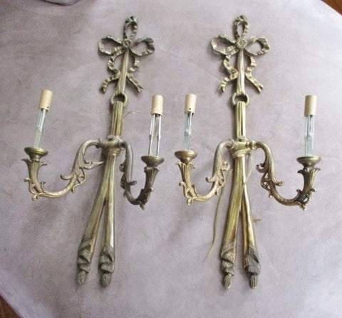 "Vintage Set 2 BOW RIBBON 24"" WALL SCONCES BRASS LAMP Light Nouveau"