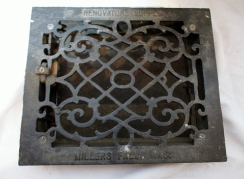 "Antique USA Cast Iron Floor Wall Return Register Grate Vent Architectural Salvage 12"" BLACK"