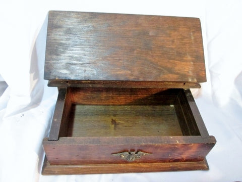 Rustic Handmade EAGLE PIRATE TREASURE CHEST Wood Jewelry Box Display BIRD Primitive