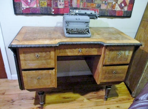 Vintage H & K ANTIQUES Antique DESK WOOD Brown Drawer