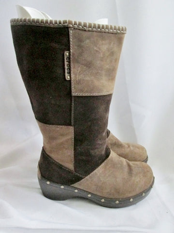 Womens Ladies CROCS COBBLER Tall BROWN PATCHWORK Suede Leather Boot 9 STUD