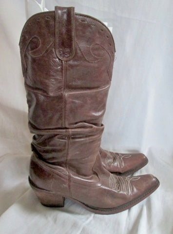 Womens STAMPEDE Western Cowboy Rocker Leather Rocker BOOTS BROWN 9 Slouch