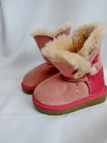 Toddler Kids Girls UGG 1000789 BAILEY BUTTON SUEDE Boot 6 PINK Sheepskin