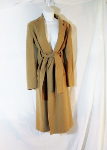 CELINE ITALY 100% CASHMERE trench maxi jacket coat 36 BROWN Belt Womens Long