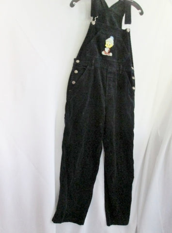 Youth Kids Looney Tunes TWEETY BIRD Embroidered Bib Overalls Pants M BLACK
