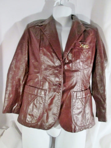 Womens Vintage 1970s ETIENNE AIGNER Oxblood Leather Coat jacket Moto XS BROWN RED