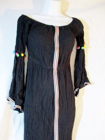 FOREVER 21 STRETCH Boho Pompom Tassel Boho S MAXI Dress BLACK Womens
