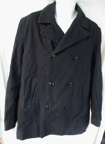 Womens OLD NAVY WOOL COAT Jacket Double Breast BLACK L Military Campus
