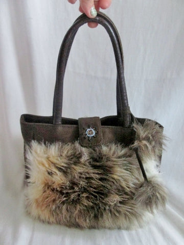 NEW Faux Vegan Leather Fur TOTE Satchel Shoulder Bag Shopper BROWN POM POM