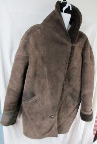 MENS JAXIE'S NEW YORK SHEARLING SUEDE Leather jacket coat BROWN L