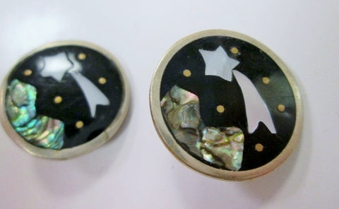 MEXICO SILVER ABALONE MOTHER OF PEARL Shell Earring SHOOTING STAR WISH Night Sky